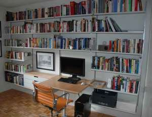 computer desk and bookshelves
